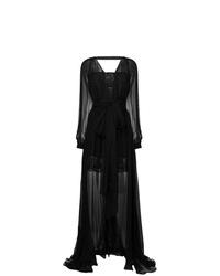 Robe de soirée de tulle brodée noire Versace