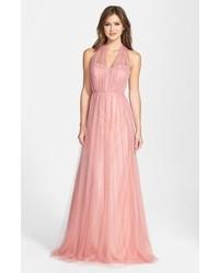 Robe de soirée de tulle rose