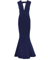 Robe de soirée découpée bleu marine Rebecca Vallance