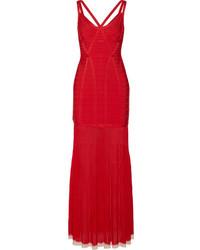Robe de soirée découpée rouge Herve Leger