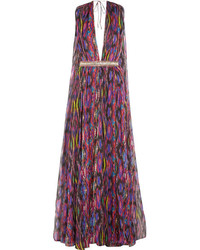 Robe de soirée en chiffon imprimée fuchsia Matthew Williamson