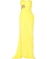 Robe de soirée en chiffon jaune