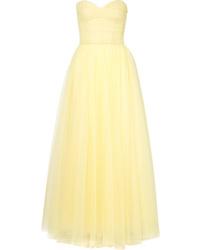 Robe de soirée en chiffon jaune Monique Lhuillier