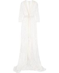 Robe de soirée en dentelle à fleurs blanche Galvan