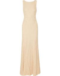 Robe de soirée en dentelle beige Diane von Furstenberg