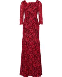 Robe de soirée en dentelle rouge Diane von Furstenberg