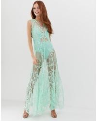 Robe de soirée en dentelle turquoise Glamorous
