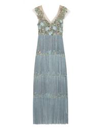 Robe de soirée en satin ornée bleu clair Marchesa Notte
