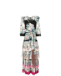 Robe de soirée en soie à fleurs multicolore Dolce & Gabbana