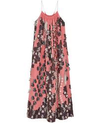 Robe de soirée en soie à fleurs rouge Chloé