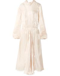 Robe de soirée en soie à volants beige Prada