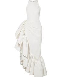 Robe de soirée en soie à volants blanche Rosie Assoulin