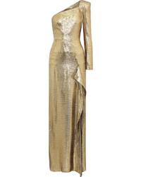Robe de soirée en soie dorée