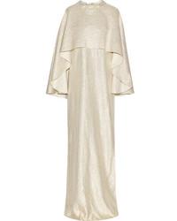 Robe de soirée en soie ornée dorée Oscar de la Renta