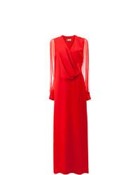 Robe de soirée en tulle plissée rouge Lanvin