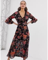 Robe de soirée en velours à fleurs noire Miss Selfridge