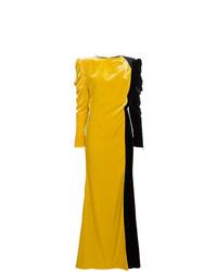 Robe de soirée en velours moutarde Ronald Van Der Kemp