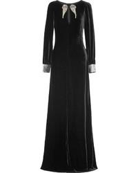 Robe de soirée en velours ornée noire
