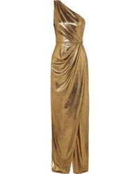 Robe de soirée fendue dorée