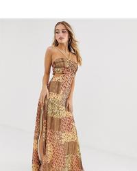 Robe de soirée imprimée marron clair ASOS DESIGN