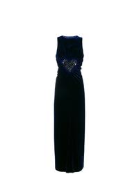 Robe de soirée ornée bleu marine Fendi