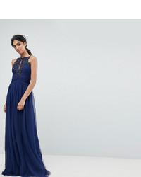 Robe de soirée ornée bleu marine Little Mistress Tall
