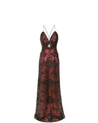 Robe de soirée pailletée brodée bordeaux Tufi Duek