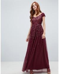 Robe de soirée pailletée ornée bordeaux Amelia Rose