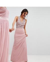 Robe de soirée pailletée ornée rose