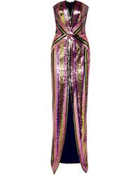 Robe de soirée pailletée rose Rasario
