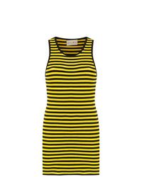 Robe débardeur à rayures horizontales jaune Andrea Bogosian
