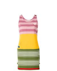 Robe débardeur à rayures horizontales multicolore Marni