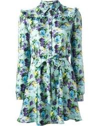 Robe décontractée à fleurs bleu clair