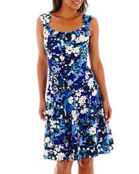 Robe décontractée à fleurs bleue