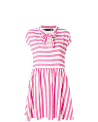 Robe décontractée à rayures horizontales fuchsia Love Moschino