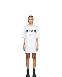 Robe décontractée imprimée blanche et noire MSGM