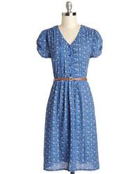 Robe décontractée imprimée cachemire bleue
