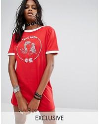 Robe décontractée imprimée rouge Reclaimed Vintage