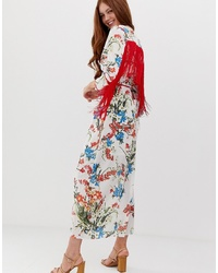 Robe drapée à fleurs blanche Glamorous