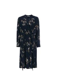 Robe drapée à fleurs bleu marine Vince
