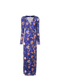 Robe drapée à fleurs bleue