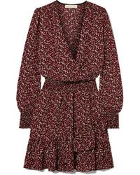 Robe drapée à fleurs bordeaux MICHAEL Michael Kors