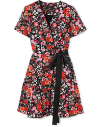 Robe drapée à fleurs fuchsia Goen.J