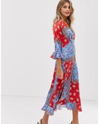 Robe drapée à fleurs multicolore Liquorish
