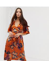 Robe drapée à fleurs orange PrettyLittleThing