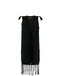 Robe drapée à franges noire Caravana