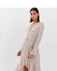 Robe drapée à rayures verticales beige Missguided