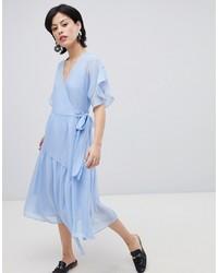 Robe drapée à volants bleu clair Vero Moda