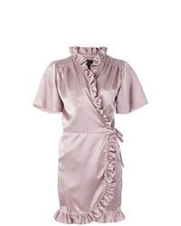 Robe drapée à volants rose Iil7