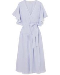 Robe drapée en coton bleu clair
